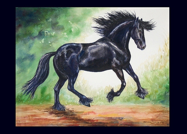Flying Friesian Note Card