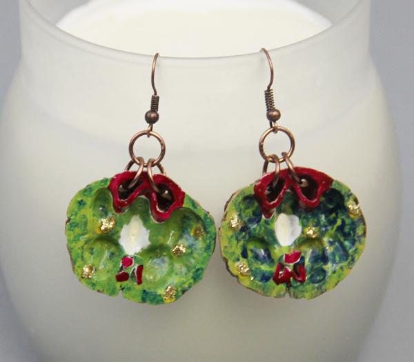 Christmas Wreath Earrings Black Walnut Ridge By Kristine Plum