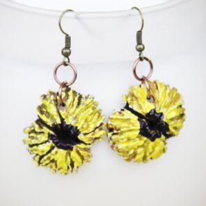 Sunflower black walnut earrings