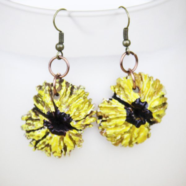 Sunflower black walnut earrings
